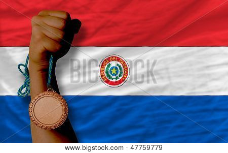 Bronze Medal For Sport And  National Flag Of Paraguay