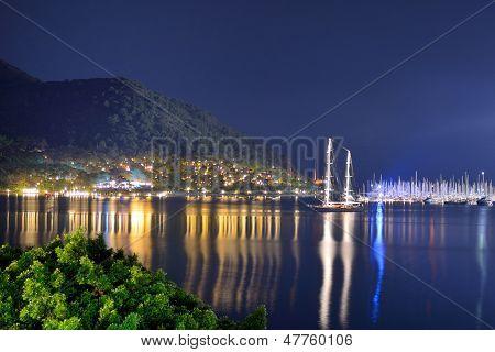 Yachts At The Pier And Beach In Night Illumination, Marmaris, Turkey