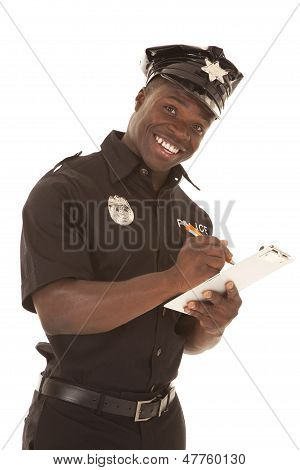 Policeman Writing Ticket Happy