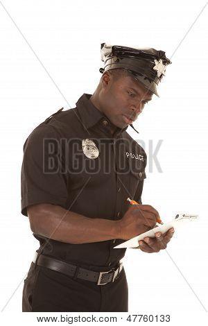 Policeman Writing Ticket Serioius Look Down