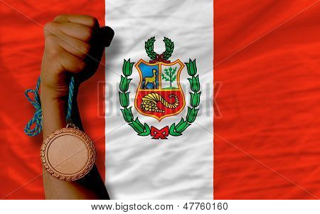 Bronze Medal For Sport And  National Flag Of Peru