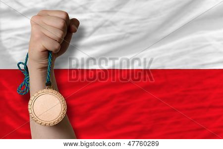Bronze Medal For Sport And  National Flag Of Poland