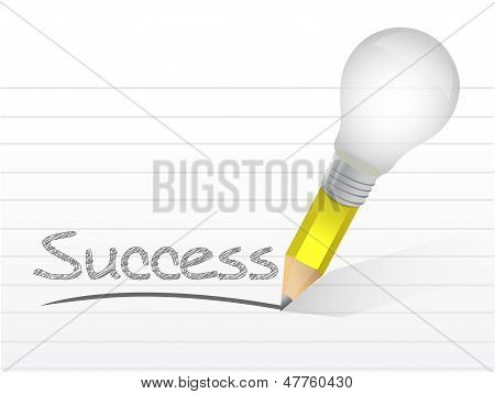 Success Light Bulb Pencil Concept Illustration