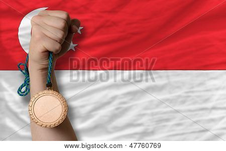 Bronze Medal For Sport And  National Flag Of Singapore