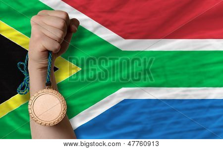 Bronze Medal For Sport And  National Flag Of South Africa