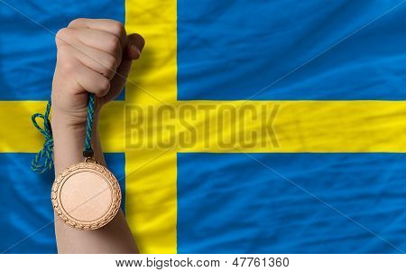 Bronze Medal For Sport And  National Flag Of Sweden