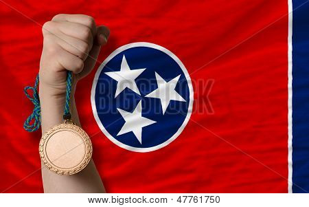 Bronze Medal For Sport And  Flag Of American State Of Tennessee