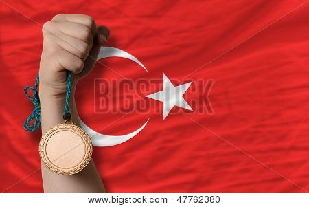Bronze Medal For Sport And  National Flag Of Turkey