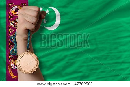 Bronze Medal For Sport And  National Flag Of Turkmenistan