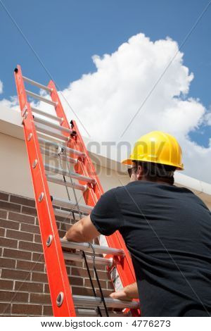 Construction Worker Climbs Ladder