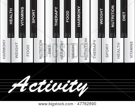 High resolution concept or conceptual white activity text wordcloud or tagcloud as piano keys isolated on white background