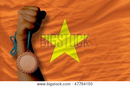Bronze Medal For Sport And  National Flag Of Vietnam
