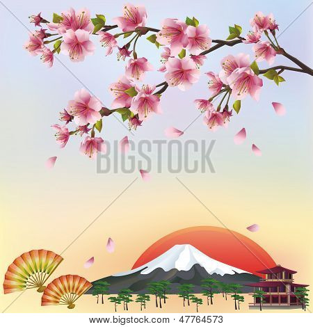 Background With Mountain And Sakura Blossom - Japanese Cherry Tree