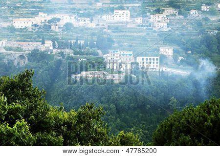 Smoke over Scala Village, Amalfi Coast, Italy, Europe