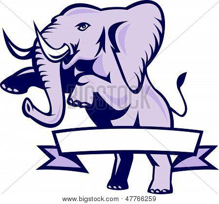 Elephant Prancing Ribbon Scroll