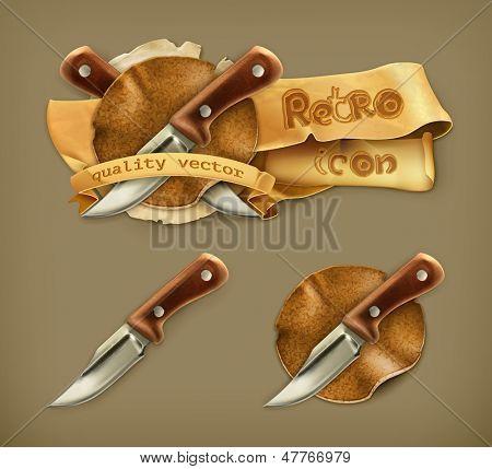Cuchillo, icono retro