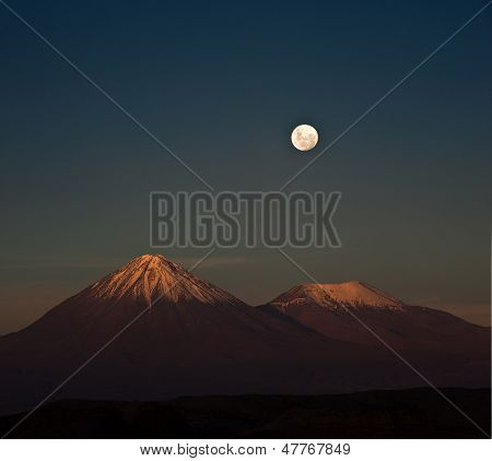 Full-moon In The Moon Valley. Atacama Desert Of Chile