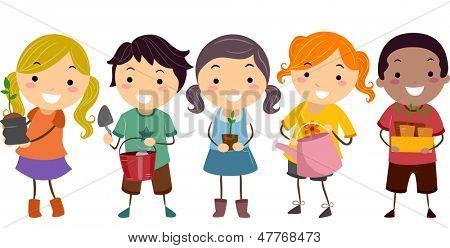 Ilustração de Stickman miúdos com plantas e ferramentas de jardinagem
