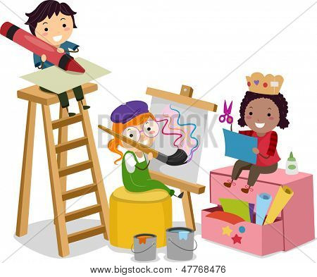 Illustration of Stickman Kids making Arts and Crafts
