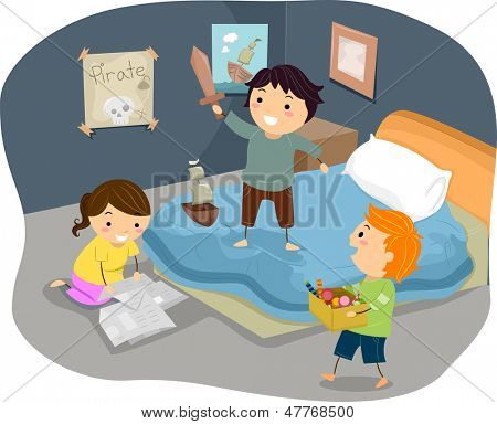 Illustration of Stickman Kids Playing Pirates in Bedroom