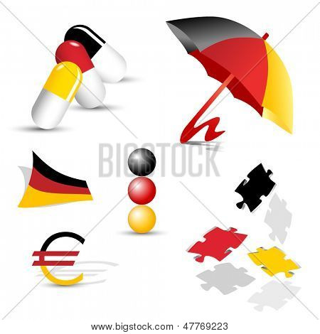 German symbols - abstract sign collection and set of icons in the colors of the German flag