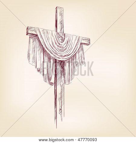 ilustracion de vector dibujado a mano cruzada