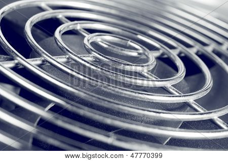 Cooling fan grill closeup