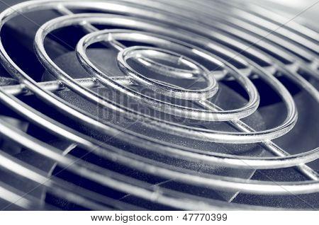 Cooling fan grill closeup