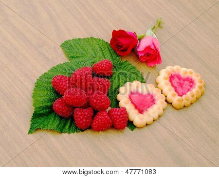 Heart-shaped Cookies,  Rose And Raspberries