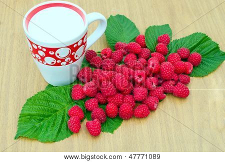 Raspberries And A Cup Of Milk
