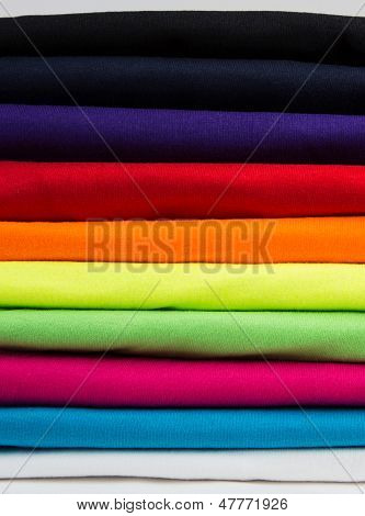 Colorful Stack Of Clean T-shirts
