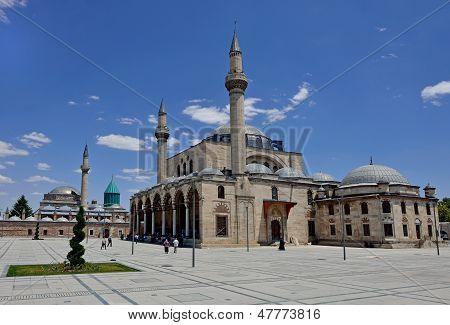 KONYA, TURKEY - JUNE 24, 2013: Selimiye Mosque And Mevlana  Sufi Center In Konya