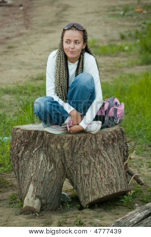 Girl On Stump