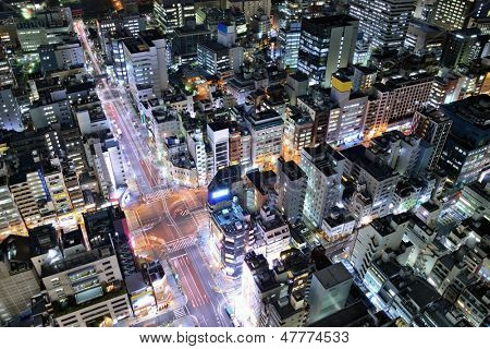 Urban aerial view in the Minato Ward of Tokyo, Japan.
