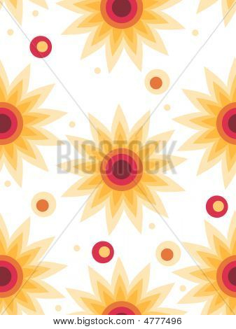 Retro Seamless Star Floral Background
