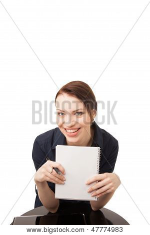 Young Happy Woman Holding A Notebook And A Pen