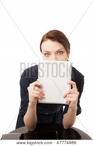 Young Happy Woman Hinding Her Face Behind Notebook