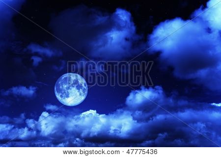 Night Sky With A Full Moon And Shining Stars
