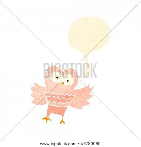 retro cartoon hooting owl