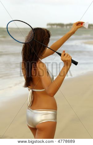 Badminton On The Beach