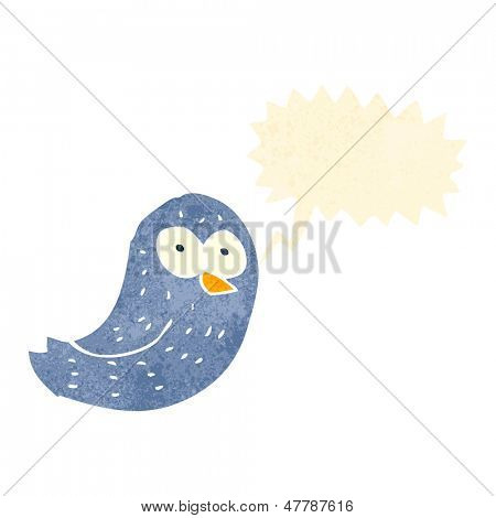 retro cartoon tweeting bird