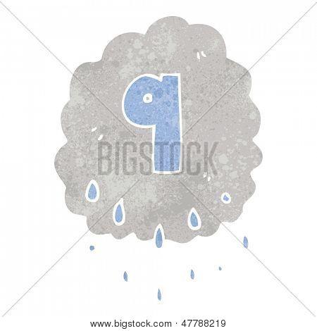 retro cartoon rain cloud with number nine