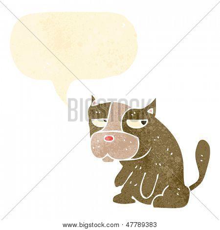 retro cartoon grumpy little dog