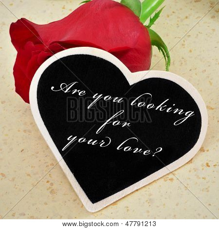 a red rose and a heart-shaped blackboard with the sentence are you looking for your love? written on it, with a retro effect