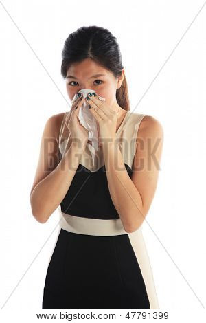 Business Woman Sneezing with a Bad Flu