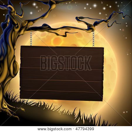 Halloween Tree Sign Background