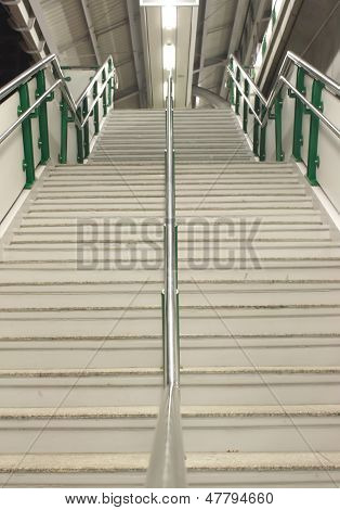 staircase on electric train station in Bangkok