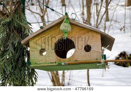 Wooden Bird Feeder With Three Holes