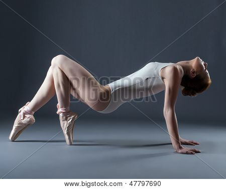 Portrait of emotional graceful dancer on pointes