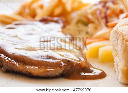 Pork Chop Steak With Black Pepper Gravy